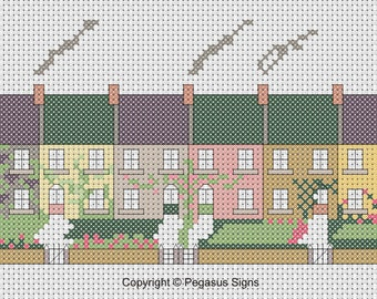 Row of Houses Cross Stitch Pattern only PDF/JPEG Files - designer pattern - Terraced homes