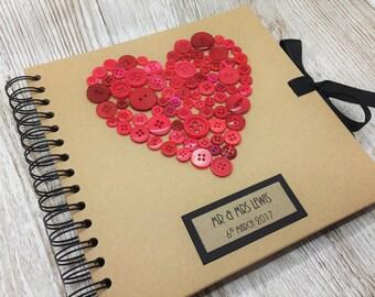Personalised Wedding Guest Book - Rustic Wedding Guest Book - Red Buttons Guest Book - Kraft Guest Book - Wedding Scrapbook