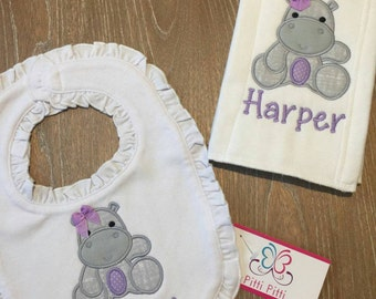 Baby Girl  Personalized Burp Cloth or Bib with Baby Hippo - Appliqued Baby Hippo Burp cloth or Bib