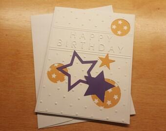 Handmade Happy Birthday Card - Purple and white stars