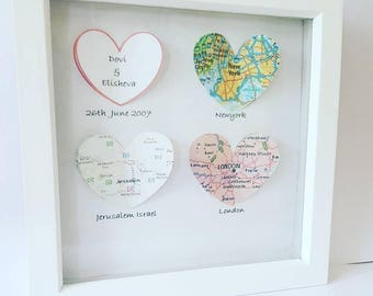 Proposal picture, engagement present, mr and mrs, engagement gift, map heart frame, love picture, personalised gift, proposal gift, printed