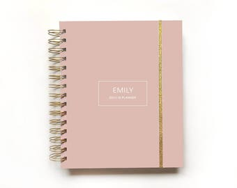 2017 personalized elegant planner | custom 2017 planner agenda student calendar weekly planner daily planner graduation gift hard cover