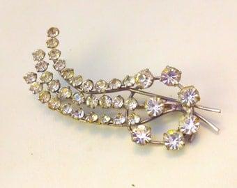 Vintage brooch, vintage pin, 50s brooch, 50s pin, rhinestone brooch, rhinestone pin, crystal brooch, crystal, wedding, jewellery, jewelry