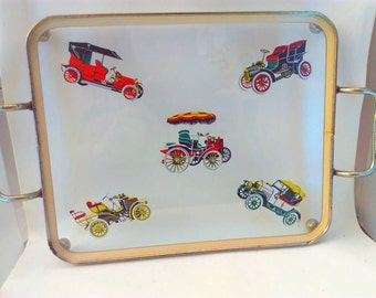 vintage, brass and glass tray, drinks tray, vintage tray, automobile, automobile tray, man cave, auto, vintage cars, mancave, decor, kitsch