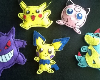 Fridge Magnet - pokemons magnet felt -  Pikachu toy - pokemons toys - Refrigerator Magnets - Felt Fridge Magnet - Handmade