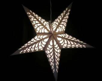 Handcrafted paper star (6) lanterns White, silver, glitter, snowflake  Weddings, party decorations 6 stars