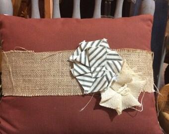 Burlap Canvas Pillow, utility fabric flowers