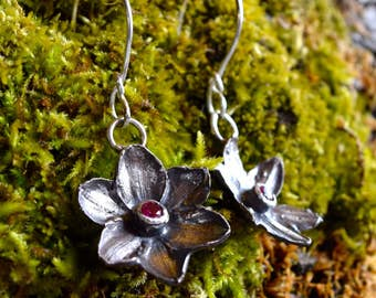 Cast Narcissus Earrings with Rubies- Sterling Silver
