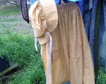 Bonnet and Apron, Light Gold Bonnet and Apron, Ruffles on Pockets