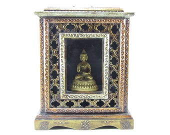 Picture ,photo Wood frame box,Mini Temple,Ethnic hand carved  painted,embossed.Unique design,India,Indian art.