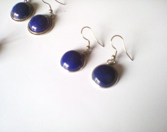 lapis lazuli and stainless steel earrings, durable jewelry