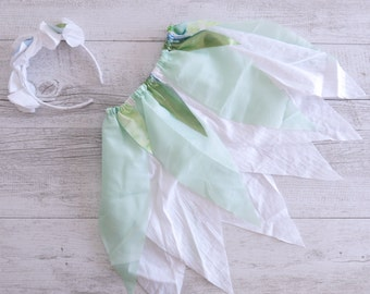 Green Fairy Skirt Flower Crown Gypsy Skirt Faerie Skirt Girls Birthday Outfit Shabby Chic Photo Prop Outfit Fairy Tutu Party