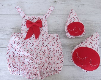 Christmas Outfit Romper Overalls Baby Candy Cane Print Christmas Print Matching Set Toy Droplet Plush Babys First Christmas Xmas Outfit
