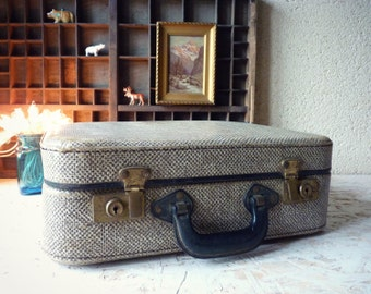 Small black and white - luggage suitcase vintage children's - french suitcase