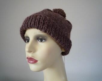Dark brown hand knit wool and hemp beanie