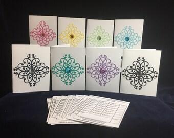 Reusable Bridge Tallies(8), 32 tally inserts, bridge score cards, brightly coloured tallies,hand made tallies, bridge game tallies