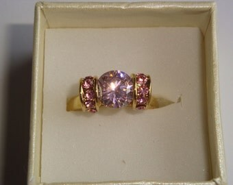 10K Gold Filled Pink Faceted Rhinestone Ring - Size 7