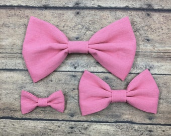 Pink Fabric Bow (3 sizes) on Metal Clip, Elastic Headband, or Hair Tie; Pink Fabric Hair Bow, Pink Hair Bow, Large Pink Hair Bow