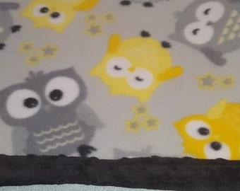 READY TO SHIP Light Gray Baby Owl Fleece Baby Blanket With Minky Backing