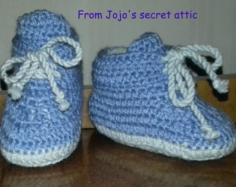 Hand crafted crocheted Blue Baby boots with contrast soles and laces age 3 months Sole 4 inches