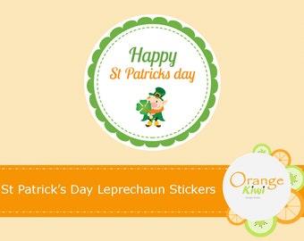 Happy St Patrick's Day Stickers, St Patrick's Day Leprechaun Stickers, St Patty's Day Treat Bag Stickers