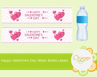 Happy Valentine's Day Water Drink Labels, Valentine Drink Wraps, Valentine Heart Water Bottle Labels, Waterproof Labels, Valentine Party