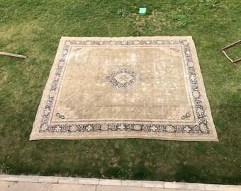 Amazing 14x16 Ft Vintage Large Rug . Turkish Oushak Rug. Neutral Colors Decorative  Old Handmade Carpet