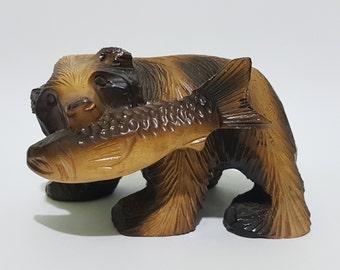 """Glossy 3"""" Woodcarved Ainu Bear, CecysAsianShop"""