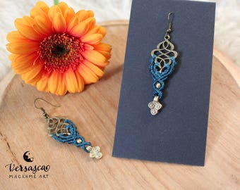 Earrings 'Oriental' blue / dark petrol