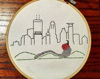Minneapolis Skyline Cross Stitch