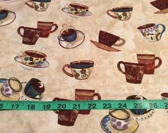 Kanvas Studio Fabric, Coffee Cups by the half yard