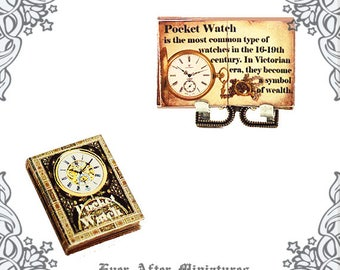 POCKET WATCH Dollhouse Miniature Book – 1:12 Readable Antique Pocket Watch Book Antique Clock Book Antique Miniature Book Printable DOWNLOAD