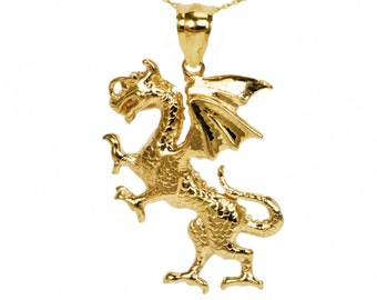 10k Yellow Gold Dragon Necklace