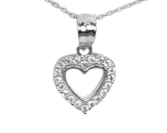 10k White Gold Cubic Zirconia Heart Necklace