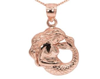 10k Rose Gold Mermaid Necklace