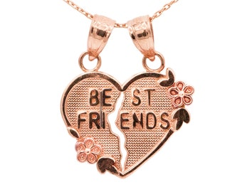 10k Rose Gold Best Friends Heart Necklace