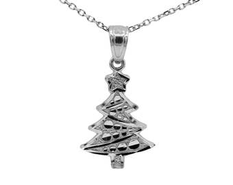 10k White Gold Christmas Tree Necklace