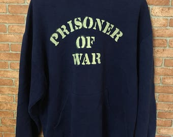 Vintage Prisoner Of War Pow Vietnam Us Army Navy Blue Hoodie Sweatshirt