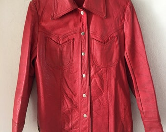 Classic Design Long Sleeve Vintage Red Soft Genuine Leather Shirt Men's Size Small.