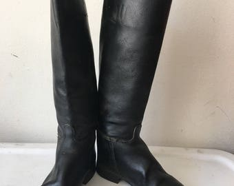 Real horse leather boots classic style from genuine & shabby leather, high boots casual style vintage retro men's black boots size - 9 1/2.
