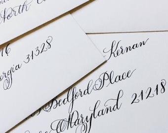 Custom, hand-lettered calligraphy envelopes and prints