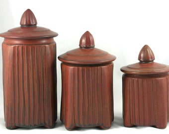 Handmade Pottery Canister Set, Hand Carved, Red Glaze