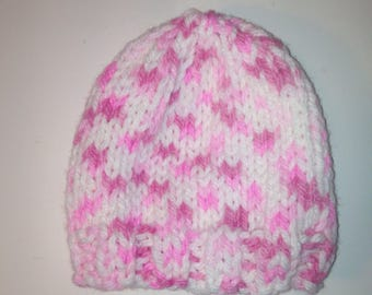 Pink Knit Hat, Knit Baby Hat, Baby Shower Gift, Ready to ship