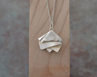 Cast sterling silver folded necklace - handmade