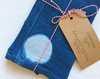 Shibori Single Moon Indigo Tea Towel