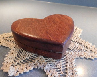 Vintage Handmade One-Of-A-Kind Solid Wood Heart Shape Engagement Ring Box