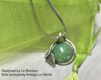 Jade & Sterling Silver Leaf pendant