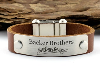 Personalized Leather Bracelet, brother Bracelet, Handwriting Bracelet, Signature Bracelet, Brother Gift, Gift for him, Gifts for men, custom