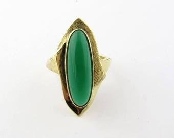 Vintage 14K Yellow Gold Chrysoprase Ring Size 5 #837