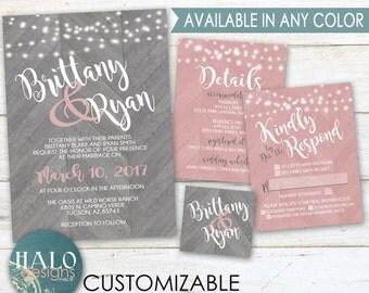 rustic chevron wedding invitations blush pink grey coral postcard rsvp - Coral And Grey Wedding Invitations